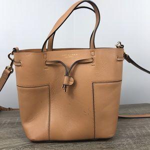 Tory Burch crossbody tote bag purse leather tan